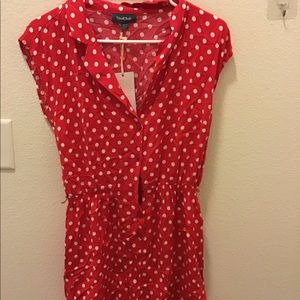 ModCloth red polka dot print Romper with Waist Tie